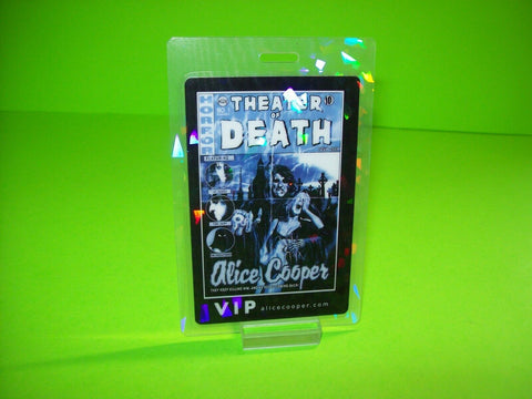 Alice Cooper Theater Of Death Backstage VIP Pass Rock Halloween Horror Blue Etch - Post Punk Records