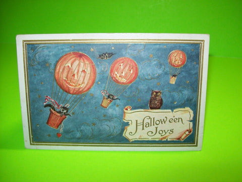 Vintage Halloween Postcard Whitney Black Cats Flying In Hot Air Balloons Emboss - Post Punk Records