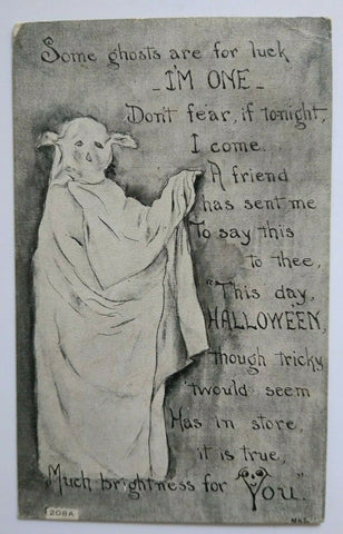 Vintage Halloween Postcard Goblin Ghost Series 208 FA Owen Antique Original 1919