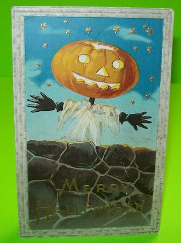Halloween Postcard Barton Spooner Goblin Stars Embossed 34A Vintage Original - Post Punk Records
