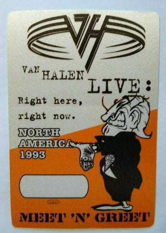 Van Halen Right Here Backstage Pass Meet N Greet Original 1993 Eddie Rock Orange