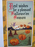 Vintage Halloween Postcard Gibson Witch Border Flying Pumpkins Original 1913