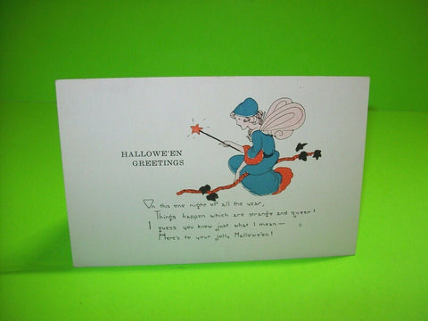 Halloween Postcard Weaver Unused Series 2399 Original Magical Fairy Vintage - Post Punk Records
