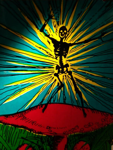 Grateful Dead Car Window Decal Shocking Skeleton Dancing on a Magic Mushroom