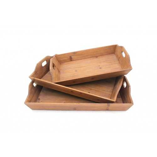 Country Cottage Wooden Serving Tray Set with 3 Pieces