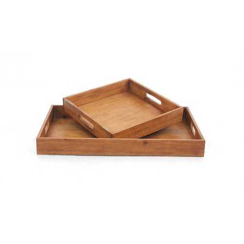 Country Cottage Wooden Serving Tray Set with 2 Pieces