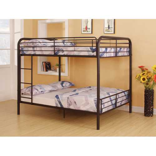 "79"" X 57"" X 65"" Dark Brown Metal Tube Full Over Full Bunk Bed"