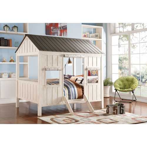 "84"" X 59"" X 77"" Weathered White And Washed Gray Cottage Full Bed"