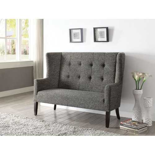 "56"" X 27"" X 42"" Gray Fabric And Espresso Settee"