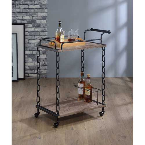 "29"" X 16"" X 36"" Rustic Oak And Antique Black Serving Cart"