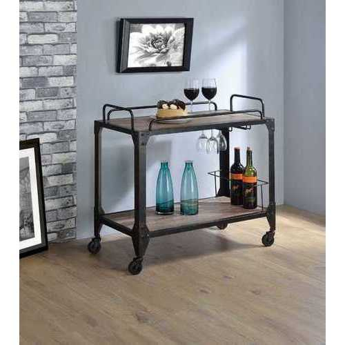 "32"" X 16"" X 31"" Rustic Oak And Black Serving Cart"