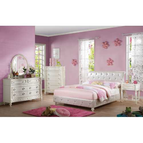 Full Bed (Padded), Pearl White PU & Ivory - PU, Pine Wood Pearl White PU & Ivory