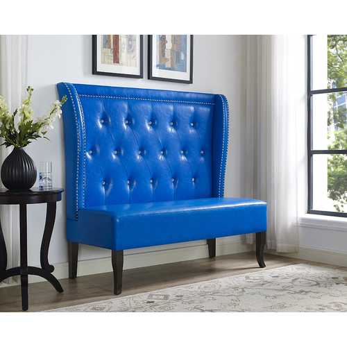 Settee, Blue PU - PU, Rubber Wood, Plywoodw Blue PU