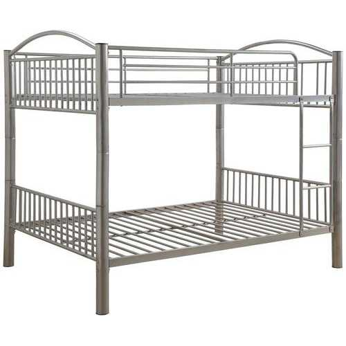 "78"" X 56"" X 67"" Silver Metal Full Over Full Bunk Bed"