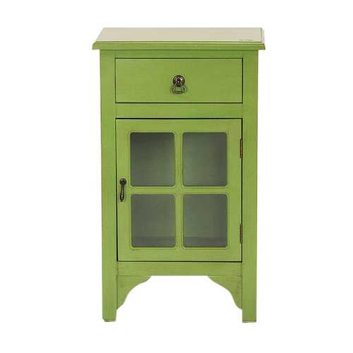 "18"" X 13"" X 30"" Green MDF, Wood, Clear Glass Accent Cabinet with a Drawer and  Door and Paned Inserts"