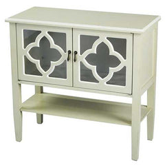 2-Door Console Cabinet w/ Quatrefoil Glass Inserts and Shelf - MDF, Wood Clear Glass