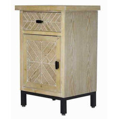 1-Drawer, 1-Door Parquet Accent Cabinet - Iron Wood MDF, Matte