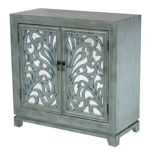 2-Door Sideboard w/ Mirror Inserts - MDF, Wood Mirrored Glass