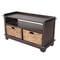 Entertainment Cabinet w/ 2 Hyacinth Storage Baskets - Wood MDF, Water Hyacinth,