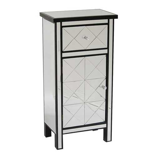 "20"" X 13"" X 39'.76"" Black MDF, Wood, Mirrored Glass Tall Accent Cabinet with Beveled Mirror Drawer and Door"