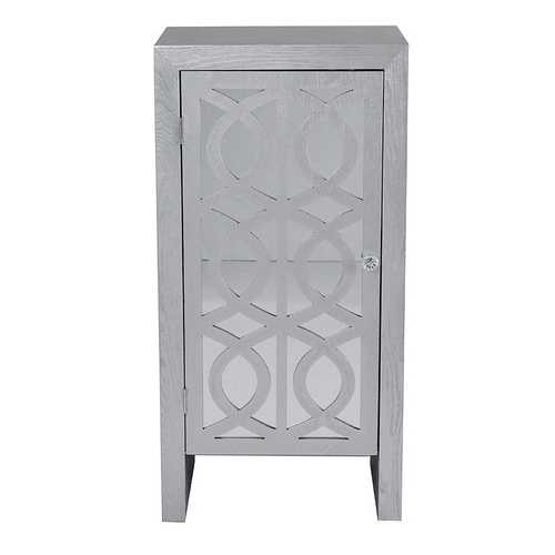 1-Drawer Accent Cabinet w/ Carved Trellis Front and Mirror Accents - MDF, Wood Mirrored Glass