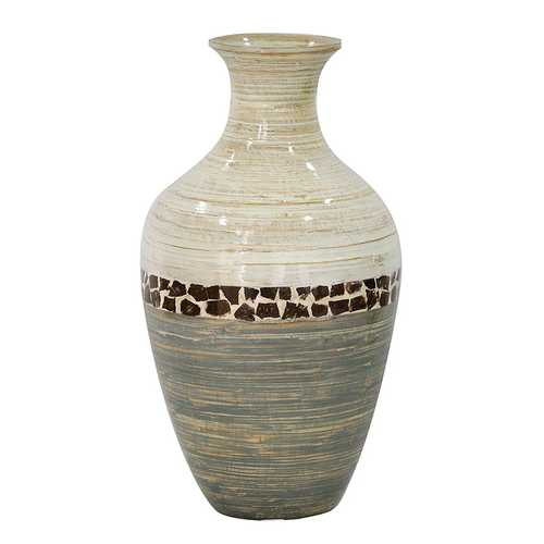 "10'.7"" X 10'.7"" X 20"" White And Gray W/ Coconut Shell Bamboo Spun Bamboo Vase"