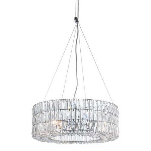 "23.2"" X 23.2"" X 8.9"" Chrome Crystal Metal Ceiling Lamp"