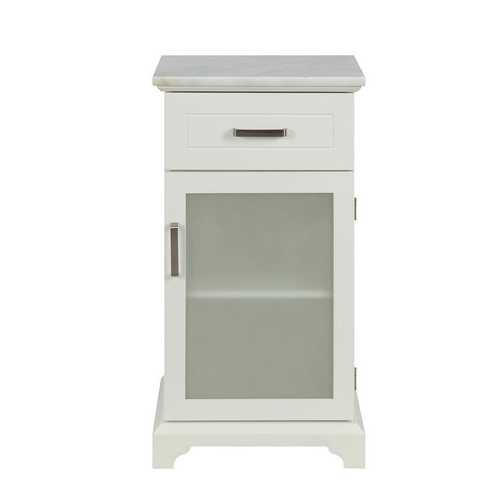 Cabinet in White - MDF, marble(degree:B), tempered glass