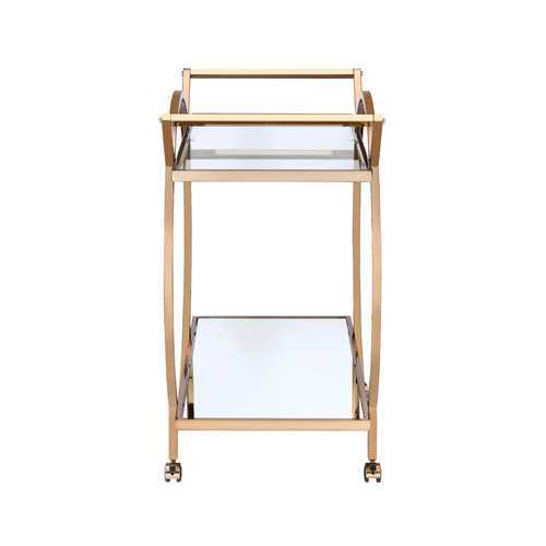Serving Cart in Champagne - Metal Tube, Glass, Mirror