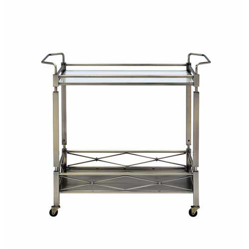 "32"" X 16"" X 30"" Antique Brass Metal Serving Cart"