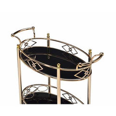 Serving Cart in Gold - Metal, Glass