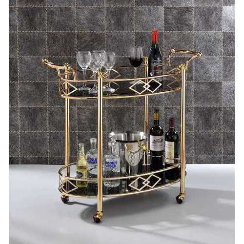 "35"" X 16"" X 32"" Gold Metal Serving Cart"