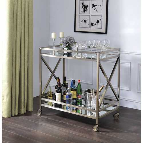 "34"" X 20"" X 35"" Antique Brass Metal Serving Cart"