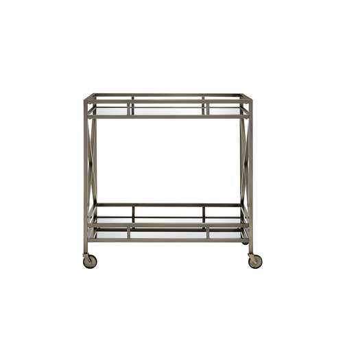 Serving Cart in Antique Brass - Metal, Glass