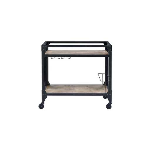 Serving Cart in Black - Metal, MDF