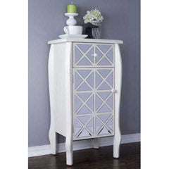 1-Drawer, 1-Door Accent Cabinet w/ Patterned Mirror Accents - Antique White