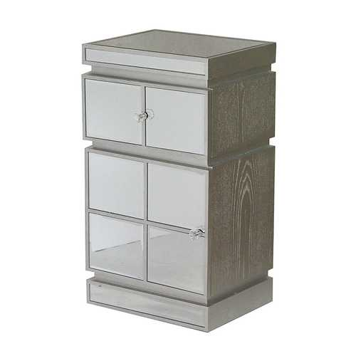 "16"" X 13"" X 29"" Silver MDF, Wood, Mirrored Glass Cabinet with a Drawer and a Door"