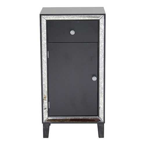 "22'.75"" X 19"" X 38"" Black MDF, Wood, Mirrored Glass Accent Cabinet with a Drawer and  Door and d Mirror Accents"