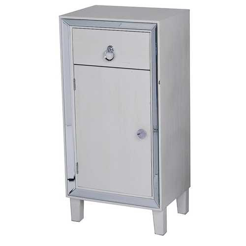 "22'.75"" X 19"" X 38"" Antique White MDF, Wood, Mirrored Glass Cabinet with a Drawer and a Door"