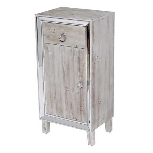 "22'.75"" X 19"" X 38"" White Washed MDF, Wood, Mirrored Glass Cabinet with a Drawer and a Door"