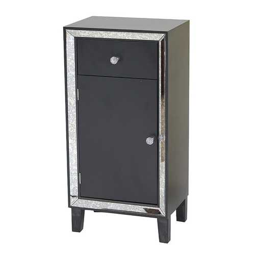 "23"" X 20'.5"" X 41'.5"" Black MDF, Wood, Mirrored Glass Accent Cabinet with a Drawer and a Mirrored Door"
