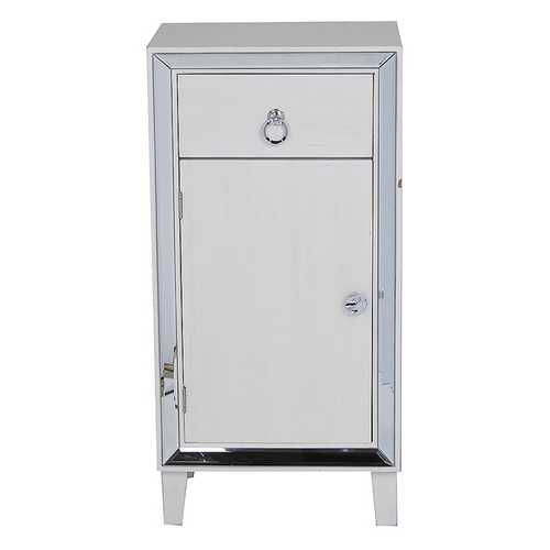"23"" X 20'.5"" X 41'.5"" Antique White MDF, Wood, Mirrored Glass Accent Cabinet with a Drawer and a Mirrored Door"