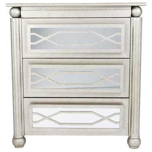 "35"" X 17"" X 37"" Antique Silver W/ Gold MDF, Wood, Mirrored Glass Accent Cabinet with  drawers and Mirrored Glass"
