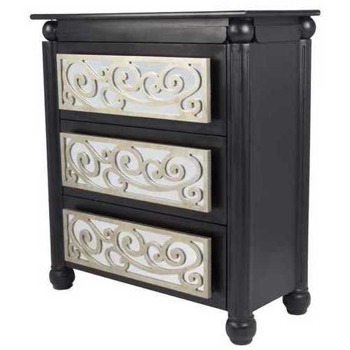 "35"" X 17"" X 37"" Black W/ Silver MDF, Wood, Mirrored Glass Accent Cabinet with  drawers and Mirrored Glass"