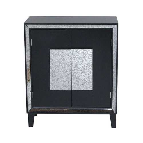 "27'.5"" X 13"" X 32'.7"" Black MDF, Wood, Mirrored Glass Sideboard with  Doors"
