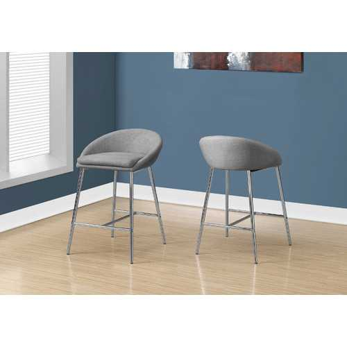 "41"" x 41"" x 59.5"" Grey, Foam, Metal, Polyester - Barstool 2pcs"