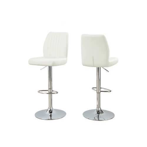 "44"" x 35'.5"" x 80"" White, Foam, Metal, Leather-Look - Barstool - 2pcs"
