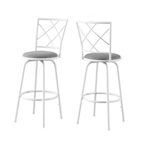 "32"" x 32"" x 88"" White, Grey, Metal, Foam, Cotton, Linen - Barstool 2pcs"