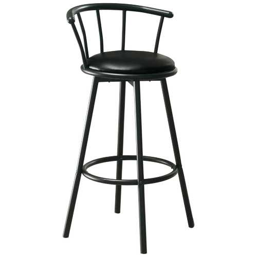 "43'.5"" x 43'.5"" x 74"" Black, Metal, Foam, Leather-Look - Barstool"