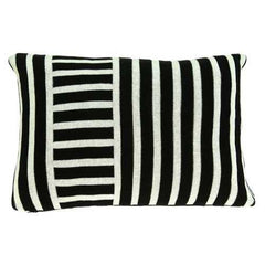 "20"" x 7"" x 20"" Transitional Black Solid Pillow Cover With Poly Insert"